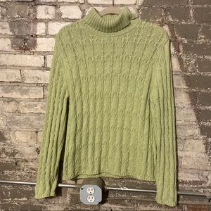 TALBOTS chunky knit mock neck sweater, green